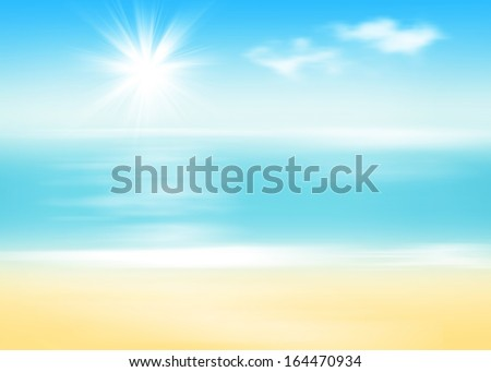 Beach and sea with sunny sky abstract background