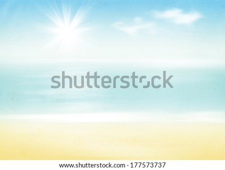 Beach and sea with sunny sky abstract retro background