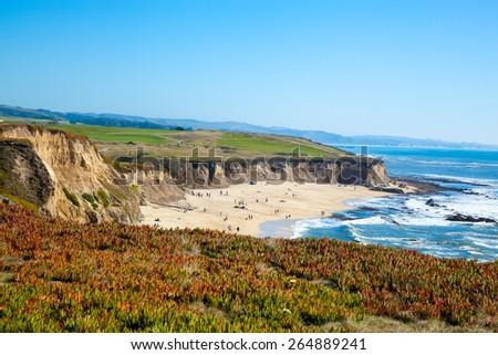 Beach and seaside cliffs at Half Moon Bay California