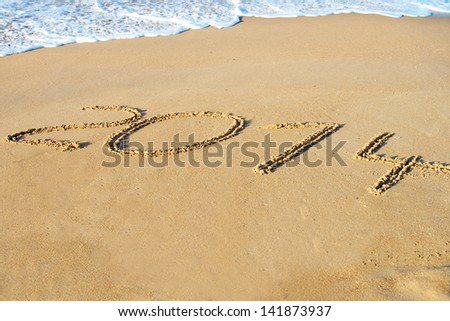 Beach and the annual number 2014 / New Year\'s Eve