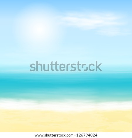 Beach and tropical sea. Raster version of the loaded vector.