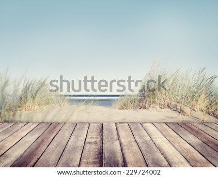 Beach and Wooden Plank #229724002
