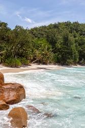 Beach Anse Georgette Praslin island Seychelles portrait format symbolic photo vacation sea water