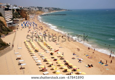 Beach at Albufeira in Algarve, Portugal