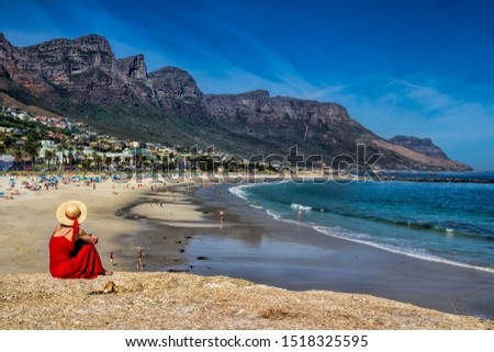 Beach at Camps Bay before the twelve apostles in Cape Town, South Africa