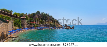Beach at Kaleici in Antalya, Turkey - travel background