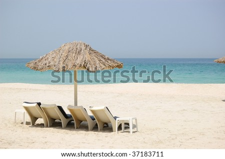 Beach at luxurious hotel, Dubai United Arab Emirates