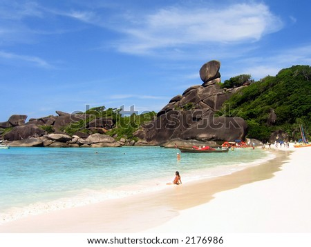 Beach at Similan Islands, Thailand with giant climbing rocks