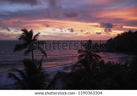 Beach at sunset, Anse Intendance, Mahe', Seychelles