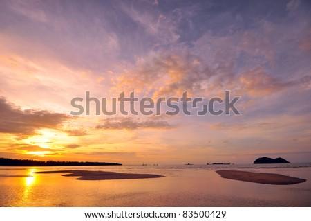 Beach at Sunset on the Island