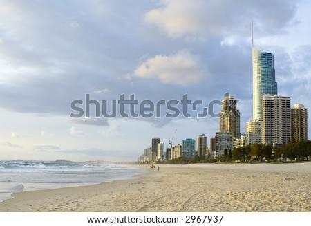 Beach at Surfers Paradise in Gold Coast, Queensland Australia - stock photo