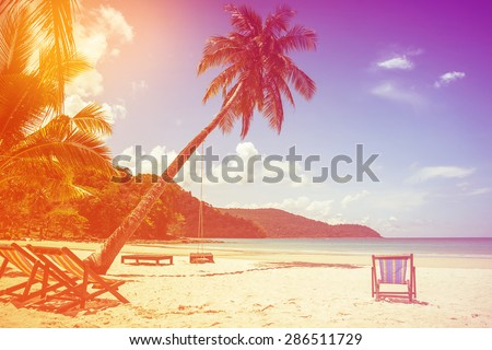 beach background  with coconut tree and beach wooden bed on sand with beautiful blue sea and cloudy sky,Image for summer fun party travel concept.