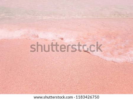 Beach background with sea wave. Texture sand. Vintage filter. Gentle pastel colors. Relax atmosphere #1183426750