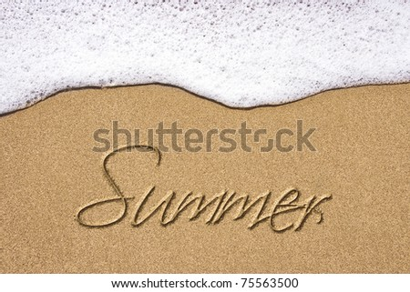 Beach background with summer written in sand. Wave and sand border. - stock photo