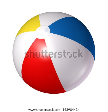 Beach ball isolated on a white background as a classic symbol of summer fun at the pool or ocean with an inflated plastic sphere of red blue white and yellow stripes.