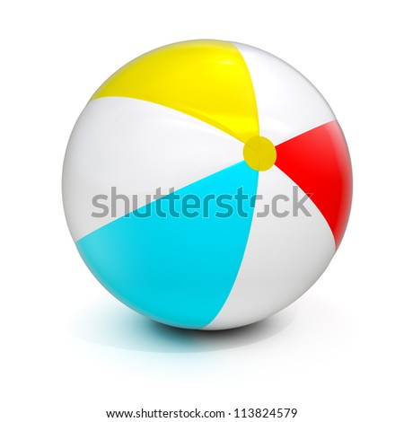 Beach ball -  isolated on white background - stock photo