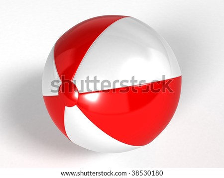 Beach ball isolated on white background - 3d rendering