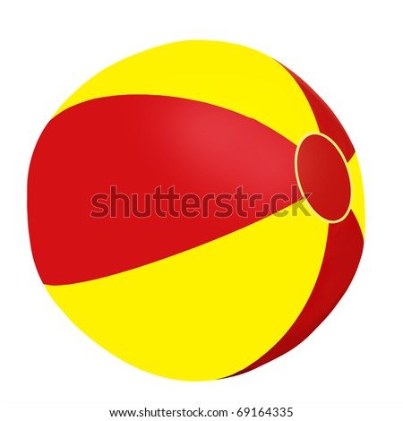 Beach ball - isolated - red and yellow