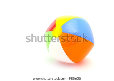beach ball on white background - stock photo