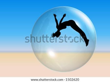 beach ball  silhouette of an...