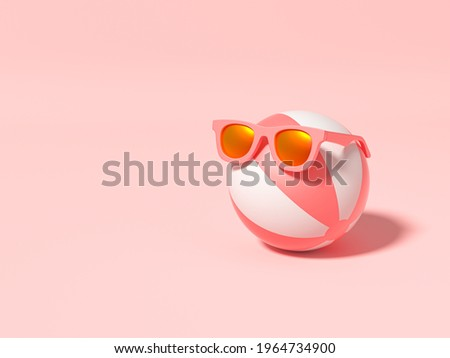 Beach ball wearing sunglasses on pink background. Summer with love. Summer vacation concept. Minimal abstract wallpaper concept. Velvet season. Flat lay. 3d render