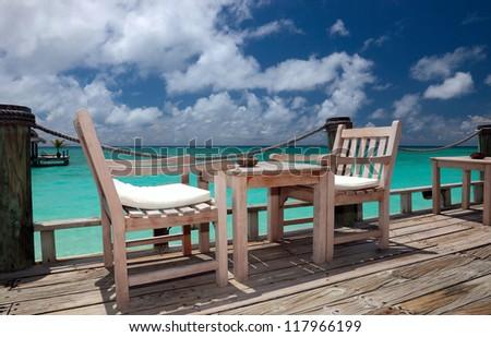 Beach bar in a Kuramathi Island. Maldives, Rasdhoo Atoll
