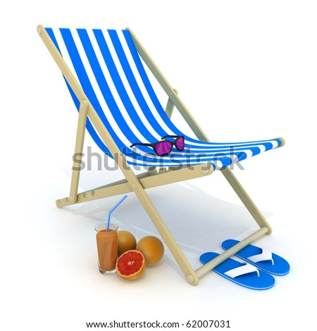 Beach bed blue (done in 3d, isolated)