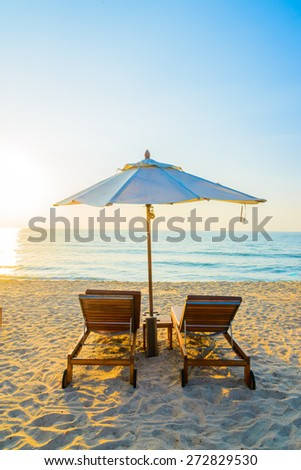 Beach bed with sun flare twilight time #272829530