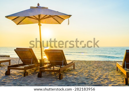 Beach bed with sun flare twilight time #282183956