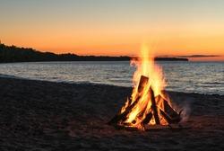 Beach Bonfire at Sunset