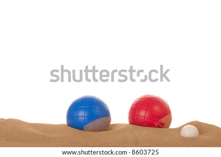 Beach boules in the sand.