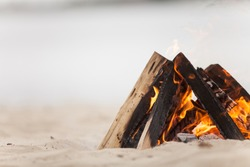 Beach campfire on lake with sand shore. burning wood on white sand in daytime