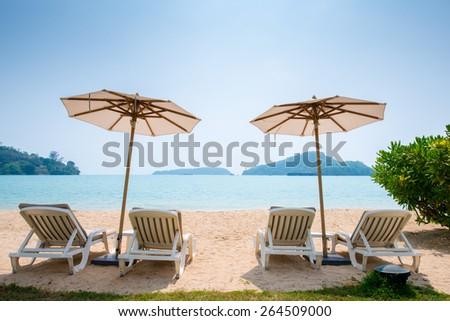 Beach chair in the Phuket Thailand beach