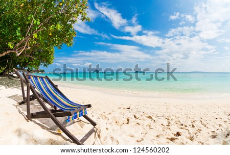 Beach chair on perfect tropical sand beach Phi Phi Island Thailand