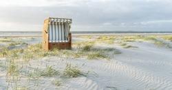 Beach chair on the North Sea coast