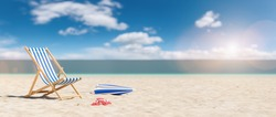 Beach chair with flip-flops and umbrella on empty sand. Beach with blue sky in summer as vacation, copy space for individual textconcept