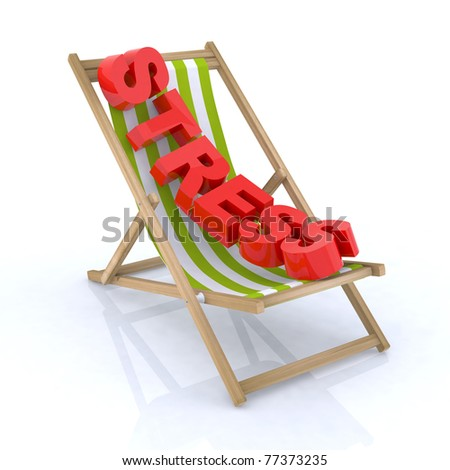 beach chair with stress written 3d illustration - stock photo