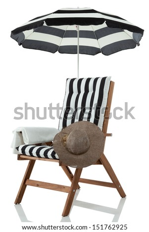 Beach chair with umbrella, hat and towel #151762925