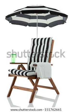 Beach chair with umbrella, towel and drink #151762661