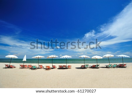 Beach Chairs and Umbrella on a beautiful beach