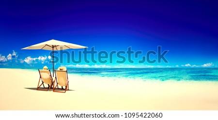 Beach chairs on a tropical beach #1095422060