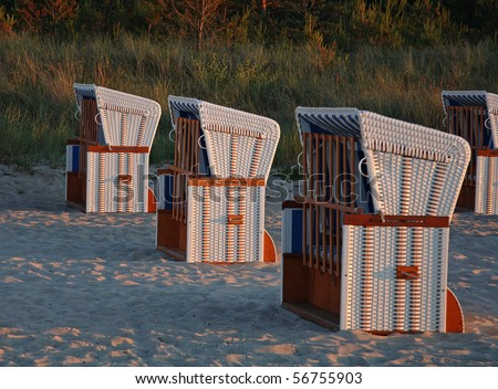 Beach chairs on the beach of Boltenhagen/Baltic Sea in evening light