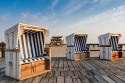 Beach chairs on the beach of St. Peter-Ording; Germany