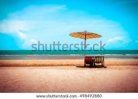 beach chairs on the sand beach...