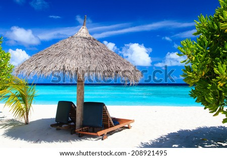 Beach chairs on the tropical sand beach