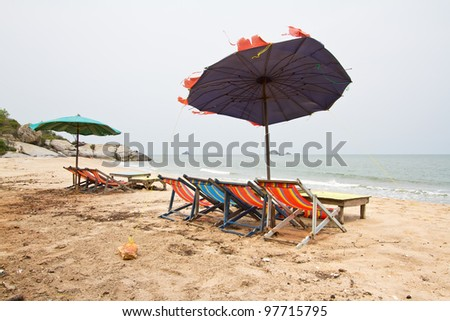Beach chairs with umbrella