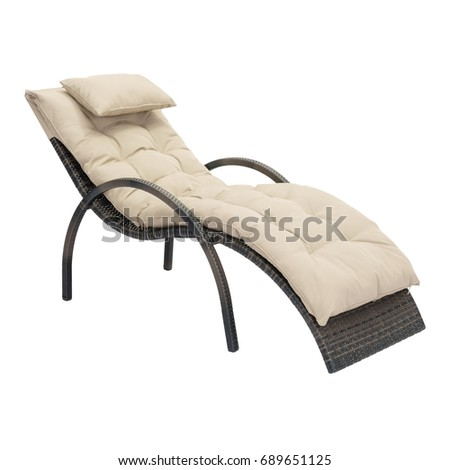 Beach Chaise Lounge Chair Isolated on White Background. Wicker Patio and Outdoor Furniture. Rattan Garden Furniture. Exterior Furniture. Beach Chair with Arm Handles and Soft Cushions