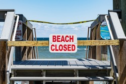 BEACH CLOSED SIGN QUARANTINE CAUTION