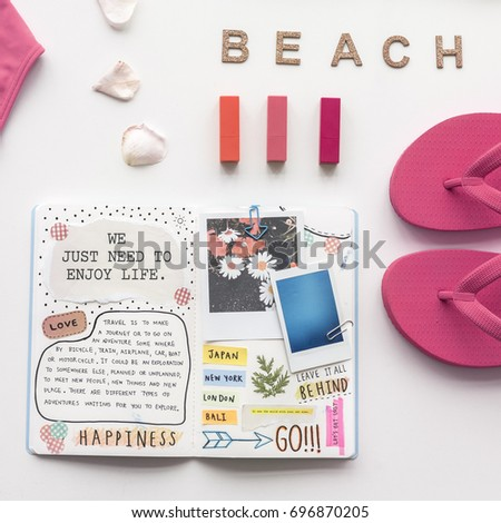 Beach concept and personal diary #696870205