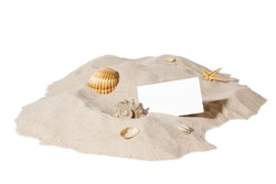 beach concept with seashell ,starfish and a blank card with copy-space.Focus on card